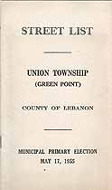 Thumbnail image of Union Township (Green Point) 1955 Primary Voter List cover