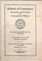 Thumbnail image of Denver School of Commerce 1921-22 Announcements cover