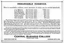 Thumbnail image of Kansas City Central Business College 1912 Advertisement cover
