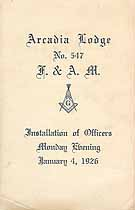 Thumbnail image of Arcadia Lodge No. 547, 1926 Installation of Officers cover