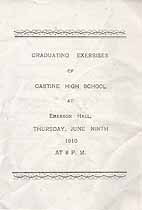 Thumbnail image of Castine High School 1910 Graduating Exercises cover