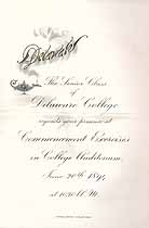 Thumbnail image of Delaware College 1894 Commencement cover