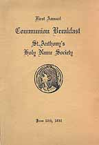 Thumbnail image of St. Anthony's Holy Name Society 1932 Communion Program cover
