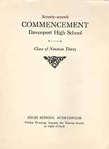 Thumbnail image of Davenport High School 1930 Commencement cover