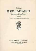 Thumbnail image of Davenport High School 1931 Commencement cover