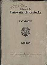 Thumbnail image of University of Kentucky 1915-1916 Catalogue cover