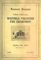 Thumbnail image of Westfield Volunteer Fire Department 1925 Souvenir Program cover