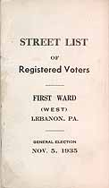 Thumbnail image of Lebanon First Ward Registered Voters 1935 cover