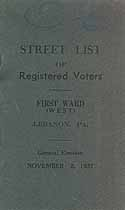 Thumbnail image of Lebanon First Ward Registered Voters 1937 cover