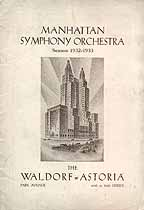 Thumbnail image of Manhattan Symphony Orchestra 1932-1933 Program cover
