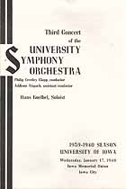 Thumbnail image of Iowa University Symphony Orchestra 1939-1940 Third Concert cover
