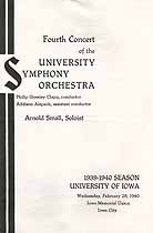 Thumbnail image of Iowa University Symphony Orchestra 1939-1940 Fourth Concert cover