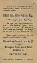 Thumbnail image of National Horse Shoers Protective Association 1897 Calendar cover