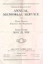 Thumbnail image of Mount Pleasant Fire Department 1938 Memorial Service cover