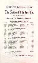 Thumbnail image of National Life Insurance of N.Y. 1870-1872 Losses Paid cover