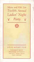 Thumbnail image of Joplin Ladies' Night Party 1927 Menu and Gift List cover