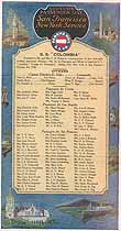 Thumbnail image of SS Colombia 1930 Souvenir Passenger List (NY to San Francisco) cover