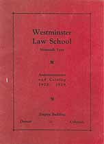 Thumbnail image of Westminster Law School 1928-1929 Catalog cover