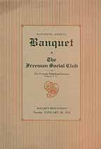 Thumbnail image of Freeman Social Club 1926 Annual Banquet cover