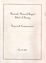 Thumbnail image of Monmouth Memorial Hospital School of Nursing 1944 Commencement cover