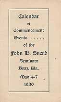 Thumbnail image of John H. Snead Seminary 1930 Commencement cover
