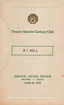 Thumbnail image of Texaco Quarter Century Club 1951 Award Dinner cover
