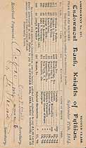 Thumbnail image of Knights of Pythias 1884/5 Assessment Notices cover