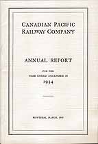 Thumbnail image of Canadian Pacific Railway Company 1934 Report cover
