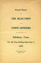 Thumbnail image of Salisbury, Connecticut, 1919, Town Report cover