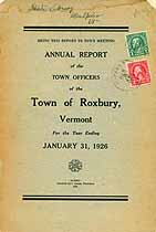 Thumbnail image of Roxbury, Vermont, 1926, Town Report cover