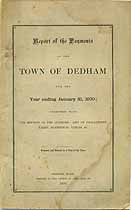 Thumbnail image of Dedham, Massachusetts, 1870, Town Report cover