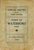 Thumbnail image of Waterboro, Maine, 1918, Town Report cover